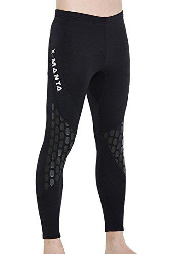 DIVE & SAIL 1.5mm Neopren Neoprenanzug Hose Schwimmen Strumpfhosen für Männer Surfen Segeln Tauchen Bademode (Schwarz, X-Large)