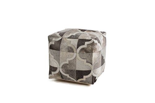 Hocker Sitz-Würfel Patschwork Design Lavish Pouf 310 Bean Bag Muster Leder 45x45 cm Grau/Sitzsack...