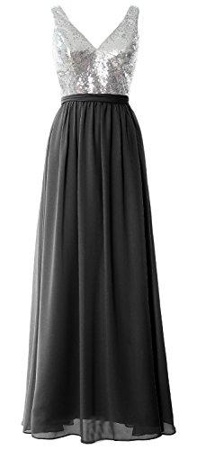 MACloth - Robe - Trapèze - Sans Manche - Femme Argenté/noir