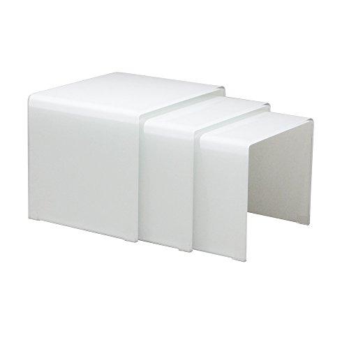 designement Tâ Table Basse Verre Blanc 55 x 45 x 42 cm
