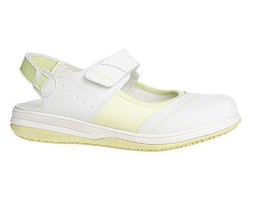Oxypas Medilogic Melissa Slip-resistant, Antistatic Nursing Shoes in White with Green Size EU 39 / UK 6 (Green-performance-einlegesohlen)