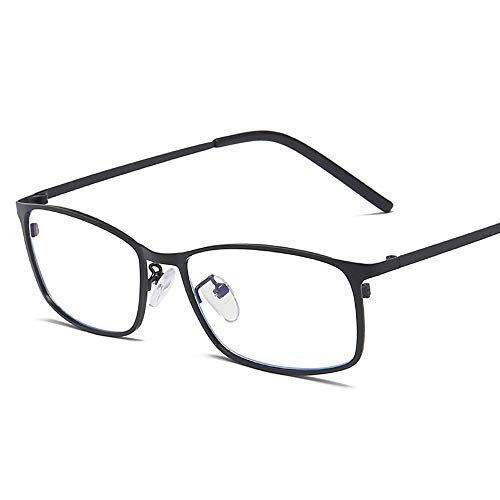 Mode Anti Blue Computer Schutzbrille Männer Business Square Frame Metall Plain Gläser Brille (Color : Schwarz, Size : Kostenlos)