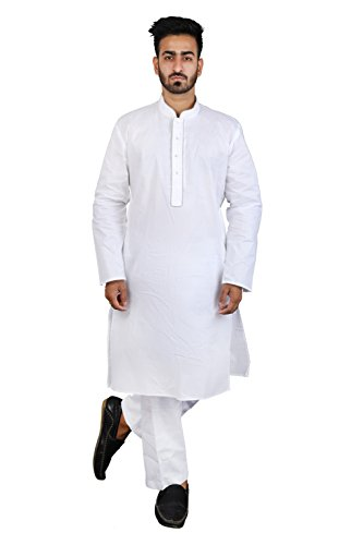 Thaath Men's Ethnic White Kurta Pyjama Set with Grey Piping (Eid Collection)