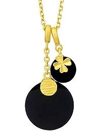 701a56889bd2 Gargantillas Bisuteria Oro de SonMo Collar Colgante Oro Amarillo 18K  Colgante de Forma Redonda y Trébol