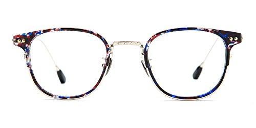 TIJN Klassischer Oval Brillen Rahmen mit Klarer Linse Metall-Buegel