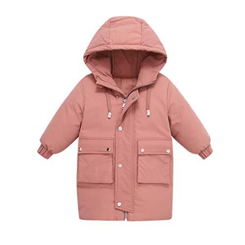 Deloito Kinder Baby Oberbekleidung Winter Warme Daunenjacke Mädchen Jungen Baumwolle Steppjacke mit Kapuzen Grundschüler Freizeit Langer Mäntel (Rosa,140/6-7 T)