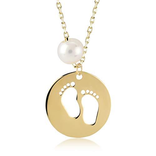 Damen Mädchen Halskette aus 14 Karat - 585 Echt Gelbgold Baby Füße als Goldanhänger, Mallorca Perle, Geschenk für Geburtstag Weihnachten - Kette 45 cm