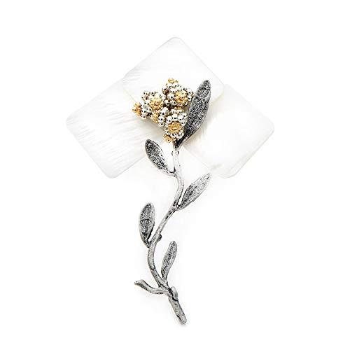 Unique Life White Natural Shell Flower Brosche für Damen und Herren Legierung Big Flower Plant Hochzeit Bankett Brosche Jahresgeschenk