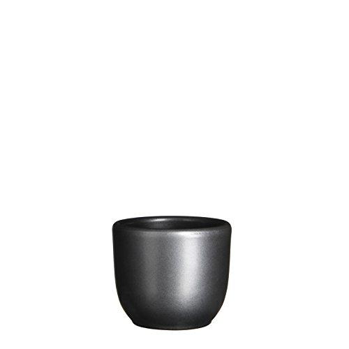 MICA Decorations Tusca Übertopf Keramik für Indoor, anthrazit, 7.5 x 7.5 x 6.5 cm