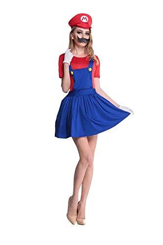 thematys Super Mario Luigi Mütze + Kleid + Bart + Handschuhe - Kostüm-Set für Damen - perfekt für Fasching, Karneval & Cosplay (L, 160-165cm Körpergröße)