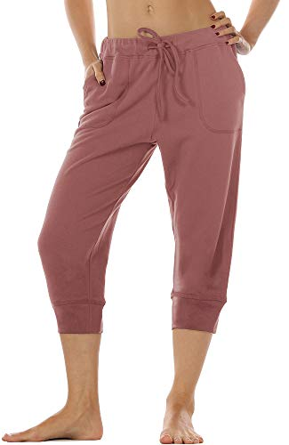 icyzone Damen Hosen 3/4 Sweathose Jogginghose Baggy Casual Pants Sporthose (M, Dusty Pink) 3/4 Baggy Pants