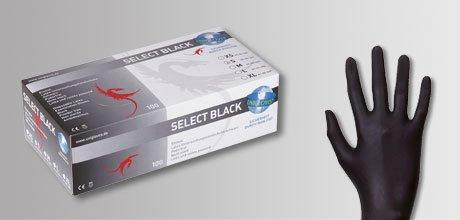 Lot de 100 gants jetables en latex noir unigloves ® select noir taille s