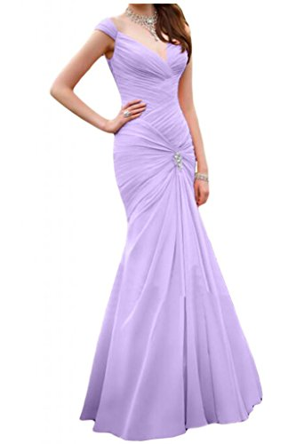 Gorgeous Bride Schlicht Meerjungfrau Traeger Chiffon Lang  Brautjungfernkleid Abendkleid Ballkleid Lilac