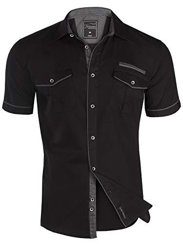 Herren Hemd Kurzarm GESTREIFT Slim FIT Sommer 100% Baumwolle Polo Style, Größe:L, Modell/Farbe:01_Schwarz