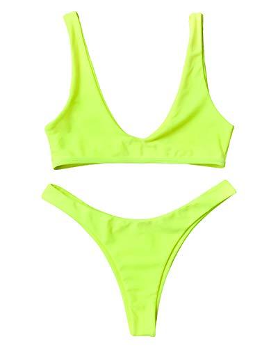 ZAFUL Damen Bralette Bikini-Set U-Boot BH Bademode Badeanzug Swimwear Beachwear Swimsuit Bikiniset Medium Neon Gelb
