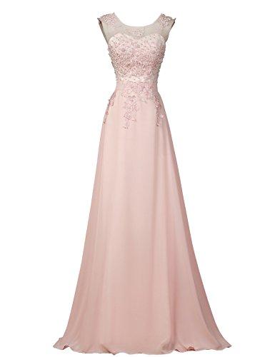 GRACE KARIN Femme Robe Dentelle Cache-Coeur sans Manche Maxi Rosé Mariage USA16 CL7555-1
