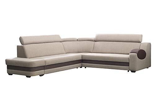 große Ecksofa Sofa Eckcouch Couch mit Schlaffunktion und Bettkasten mit Hocker Ottomane L-Form Schlafsofa Bettsofa Polstergarnitur Wohnlandschaft - Denver (Ecksofa Links, Cappuccino)