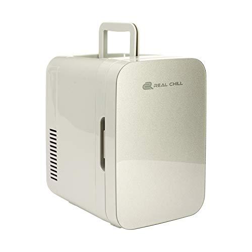 Real Chill 2 in 1 Mini Kühlschrank, 6 Liter mit Kühl- und Heizen funktion, 12 Volt und 230 Volt, Autos, Schlafzimmer, Büros, Zelten, Kosmetik, AC DC, UK & EU-Stecker (Silber)