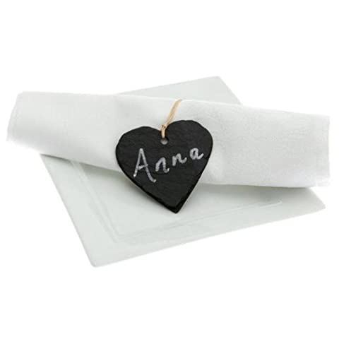Just Slate Heart Shaped Napkin Name Tags - Pack of 4 | Dinner Table Place Name Tags