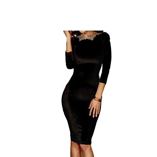 Erica delle donne del partito / cocktail Club Gold Ricamo Trim aperta indietro increspato vestito nero Midi, manica tre quarti , black , s