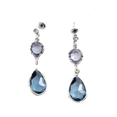 Ohrstecker, Tropfenform, Vintage-Stil, Kristall, Tropfenform, hängend an einem kleinen weißen Kristall, grau-blauer runder Kristall, hellblauer Wassertropfen, versilberter Rahmen