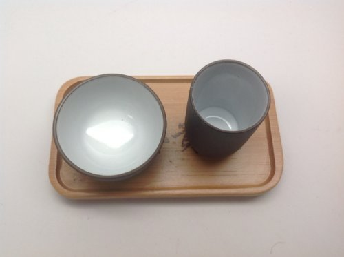 2 Set of Chinese Tea Tasting Cup 2pcs Bw Half Oz with Bamboo Coaster
