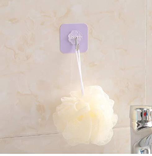 asdf99 Edelstahl starker Haken, wasserdicht und nahtlos für Badezimmer, Küchendeckenhaken ohne Kratzer 6cm * 6cm, lila