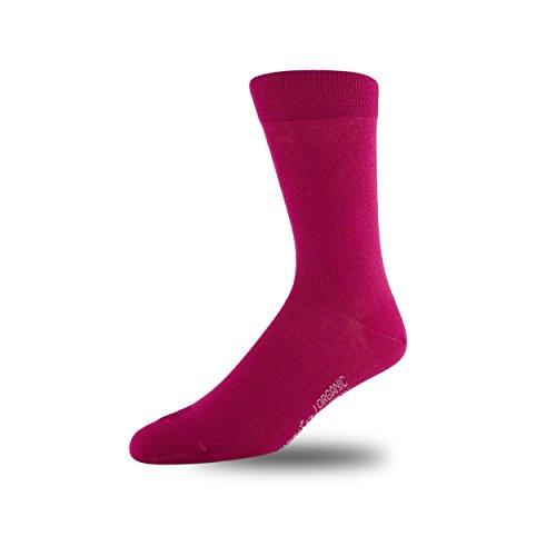 Image of STÓR Men's 98% Organic Cotton Designer Calf Socks Breathable Solid Patterns Many Colours (9-12UK / 43-46EU, Dark Pink)