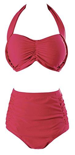Wantdo Donna Costume da Bagno Vita Alta Vintage Bikini Tuta Rosso 48-50