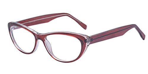 ALWAYSUV Katzenaugen Rahmen Klare Linse Retro Brillenfassung Mode Brille Cateye Glasses Rot
