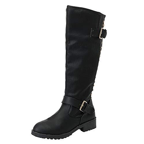 ESAILQ Femmes Dames Chaussures Rivet Riding Romain Genou Haut Cowboy Bottes Long Bottes