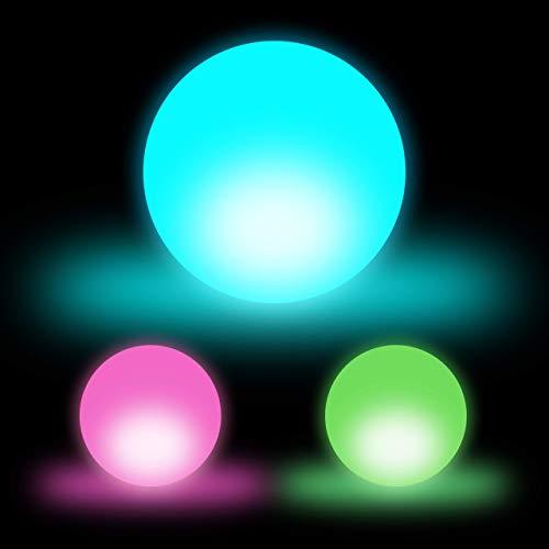 Relaxdays Set de tres lámparas LED, Bola decorativa, Cambio de color, Sin cable, 7,5 cm, Blanco