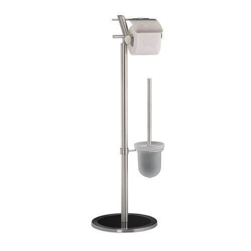 Relaxdays WC Garnitur, mit Klopapierhalter, freistehend, ohne Bohren Toilettenpapierhalter,HBT 78,5 x 29 x 24 cm, silber