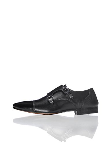 FIND Men's Allen Leather Double Monk Shoes, Black (Black), 13 UK
