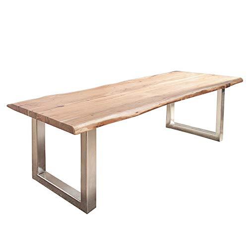 Invicta Interior Massiver Baumstamm Tisch Mammut 300cm Akazie Edelstahl Kufengestell mit 6cm Tischplatte Esstisch Konferenztisch