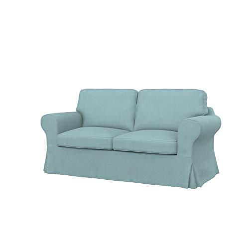 Soferia Fodera Extra Ikea EKTORP Divano Letto a 2 posti, Tessuto Majestic Velvet Light Blue