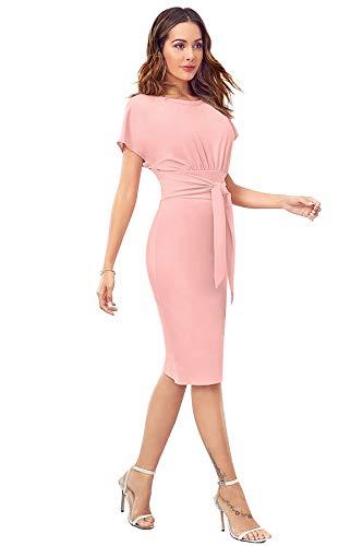 Tfunny Fashion Women's Round Neck Knee Long Tie Waist Casual Shift Pencil Bodycon Dress (Peach, XS)