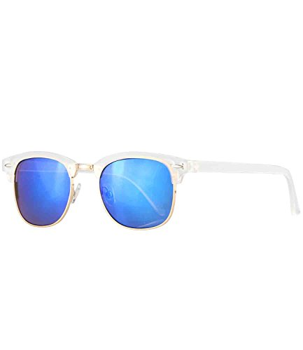 Caripe Retro Sonnenbrille Vintage 50er 60er 80er Damen Herren Halbrahmen Verspiegelt - clu2 (4 - matt transparent - blau verspiegelt)