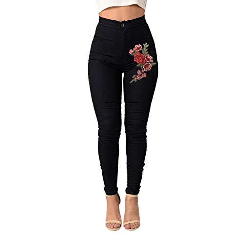 Luckycat Damen Skinny Blumenappli Jeans Hohe Taille Stretch Bleistifts Hosen Boyfriend Jeans Mode 2018