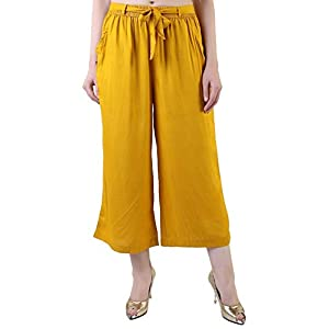 Musturd Color Rayon Culottes Hose, Capri, Kurze Hose für Frauen, Mädchen