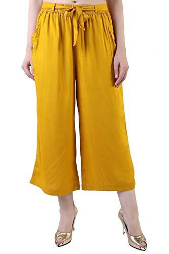 Musturd Color Rayon Culottes Hose, Capri, Kurze Hose für Frauen, Mädchen Pant Bottoms Casual Pants