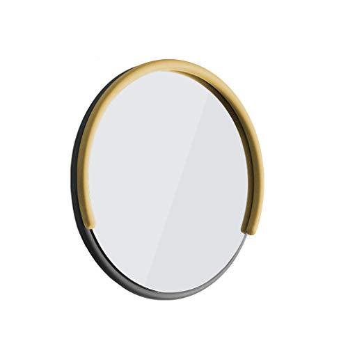 LEI ZE JUN UK Mirror- Nordische kreative einfache geführte Schlafzimmer-Badezimmer-runde Spiegel-Wandlampe, 33cm, 54cm Wandspiegel (Farbe : Gelb, größe : 54cm)