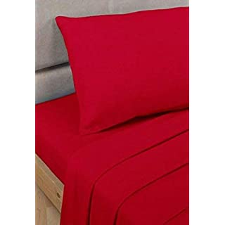 ABRO LTD 100% EGYPTIAN COTTON QUALITY FITTED BED SHEET 200 THREAD COUNT (DOUBLE, RED)