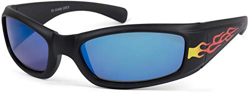 Stylebreaker occhiali da sole sportivi per bambini con stampa a fiamme, montatura in plastica e lenti in policarbonato, stile sportivo 09020089, colore:telaio nero/vetro blu munito di specchi