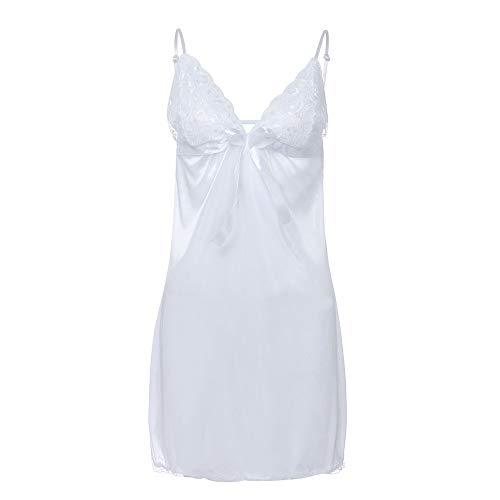 Lenfesh Mode Damen Bowknot Dessous Nachtkleid Kurz Spitze Nachtwäsche Bequem Sleepwear Trägerkleid V Ausschnitt Unterkleid