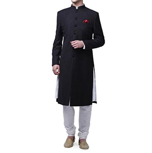 Royal Kurta Men's Suiting Blend Kneelong Solid Nehru Sherwani