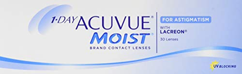 Acuvue 1-Day Acuvue Moist For Astigmatism Tageslinsen weich, 30 Stück/BC 8.5 mm/DIA 14.5 mm/CYL -1.25 / ACHSE 30 / -0.5 Dioptrien