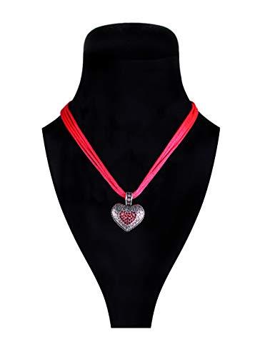 Trachtenkette mit Herz Deluxe- Hochwertiger Trachtenschmuck für Oktoberfest Karneval & Fasching - Rot