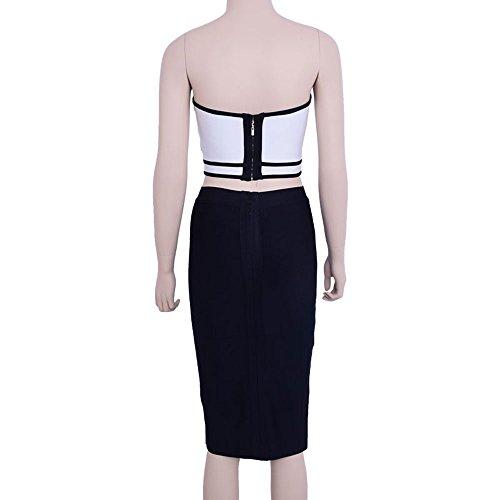 HLBandage Cat Eyes Strapless Knee Length Patchwork 2 Piece High Waist Bandage Dress Black