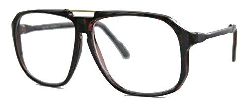 oversized Nerd Brille 70er 80er Jahre Streberbrille Retro Kassengestell Damen Herren WY (braun)